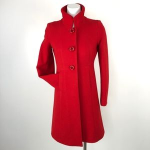 J. Crew | Red Long Wool Blend Over Coat Jacket